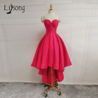 Pretty Simple High Low Long Evening Dresses 2018 Rose Red Sweetheart Formal Party Wearing Off Shoulder Plus Size Robe De Soiree