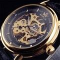 2015 WINNER полые механическая рука - часы мужские мода стиль классический резьба скелет золото наберите ремень из натуральной часы мужчины
