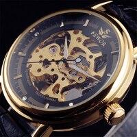 2016 SEWOR Hollow Cơ Hand-Gió Nam Nữ Đồng Hồ Cổ Điển Khắc Skeleton Vàng Quay Số Genuine Leather Strap Wrist Watch