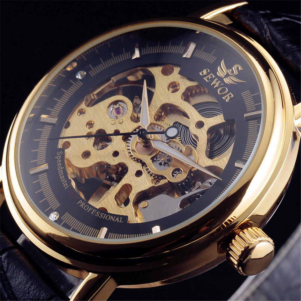 2016 SEWOR Hollow Mechanical Hand-Wind Men Women Watches Classic Carving Skeleton Gold Dial Genuine Leather Strap Wrist Watch ks black skeleton gun tone roman hollow mechanical pocket watch men vintage hand wind clock fobs watches long chain gift ksp069