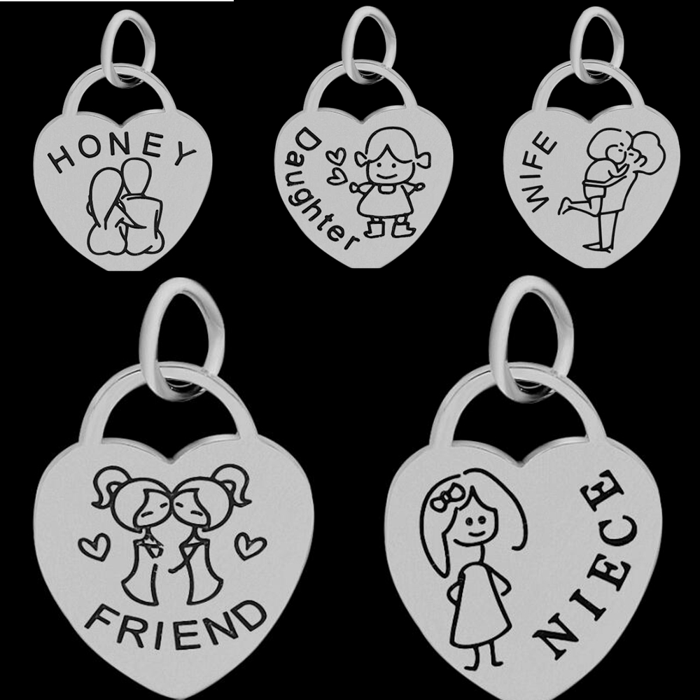 Minimal Family HONEY & Daughter & WIFE & AUNT & FRIEND & NIECE Stainless Steel Heart Pendants Making For Jewelry Necklace