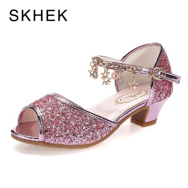 187769e1f2b US $14.46 40% OFF|SKHEK Pink Girls Sandals Children's Rhinestone High Heel  Shoes Kids Fashion Gold Shoes For Girls Sandals Size 28 37-in Sandals from  ...