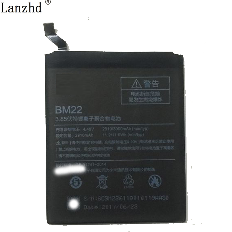 Li-ion battery For Xiaomi Mi5 BM22 Battery Replecement Large Capacity 2910mAh Li-ion Back-up Battery For Xiaomi Mi5 Smart Phone