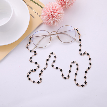 Teamer 78 سنتيمتر الأسود كريستال الخرز النظارات سلاسل الذهب أزياء النساء الرجال النظارات الملحقات النظارات الشمسية الحبل حزام الحبل 1