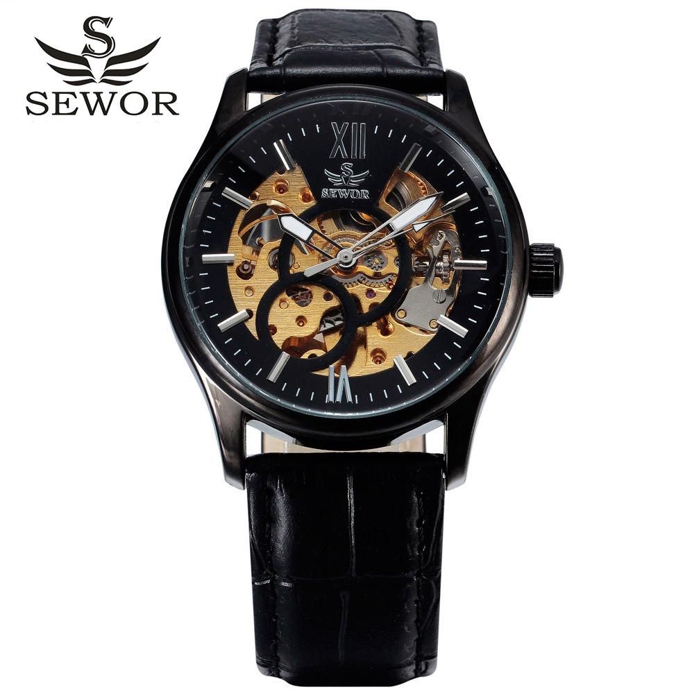 Prix pour Chaude sewor marque conception en cuir squelette homme mâle sport horloge d'affaires automatique mécanique auto vent de mode poignet de luxe montre