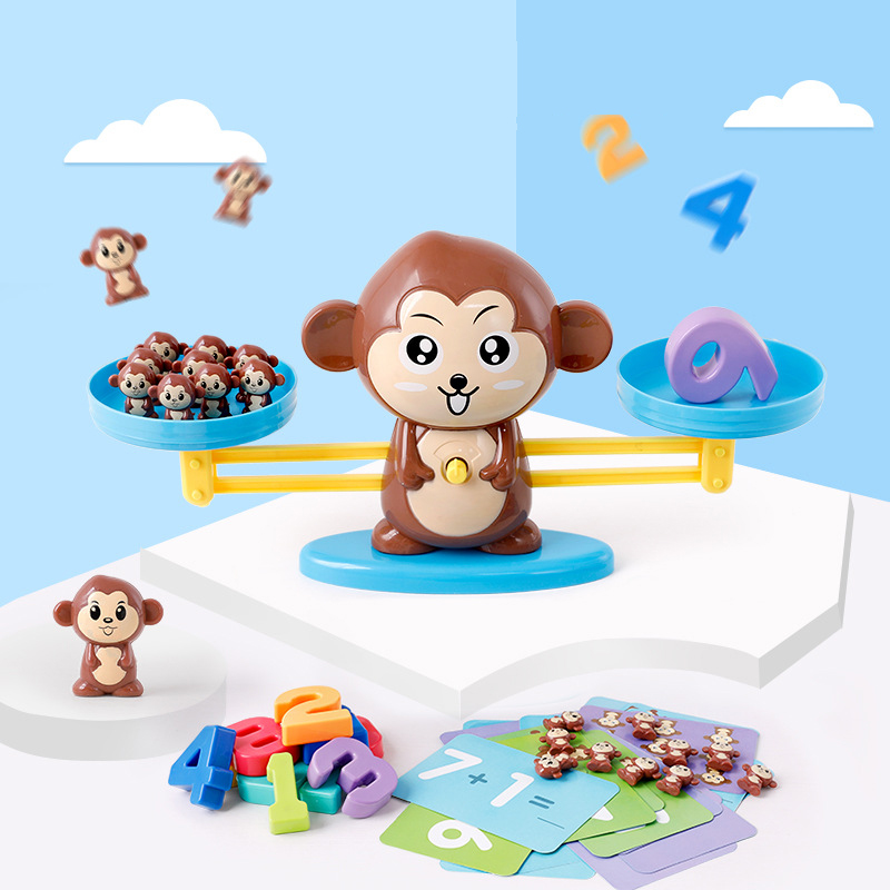 Nombre Équilibre Jeux Mathématiques Montessori Jouets Pour Enfants Bébé Enfant En Bas Âge Précoce Éducatifs Interactif Mathématiques Jouet Chien Singe Porc 3 ans +