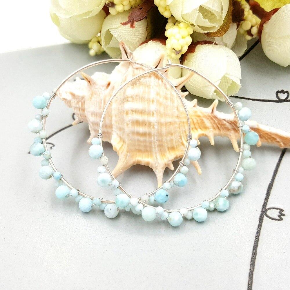 Liiji Única Pedra Natural Azul Larimar 925 Handwork Prata Esterlina Big Hoop Brincos Mulheres Moda Jóias Diária