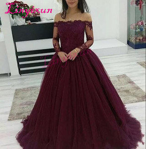 Image 1 - 2018 Burgundy Prom Dresses Wear Boat Neck Off Shoulder Lace Applique Beads Long Sleeves Tulle Puffy Ball Gown Evening Dress