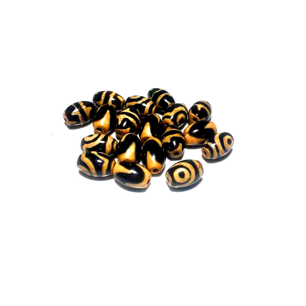 2pcs/lot Agate Beads Black Earthen Gold Line DZI 8*12mm Double Tiger Teeth 2 Eyes Lotus Men&women Jewelry DIY Free Shipping