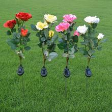 3 головки солнечный светильник в виде розы светодиодный цветочный газон уличная лампа Открытый водонепроницаемый для дома, сада, двора украшения пути