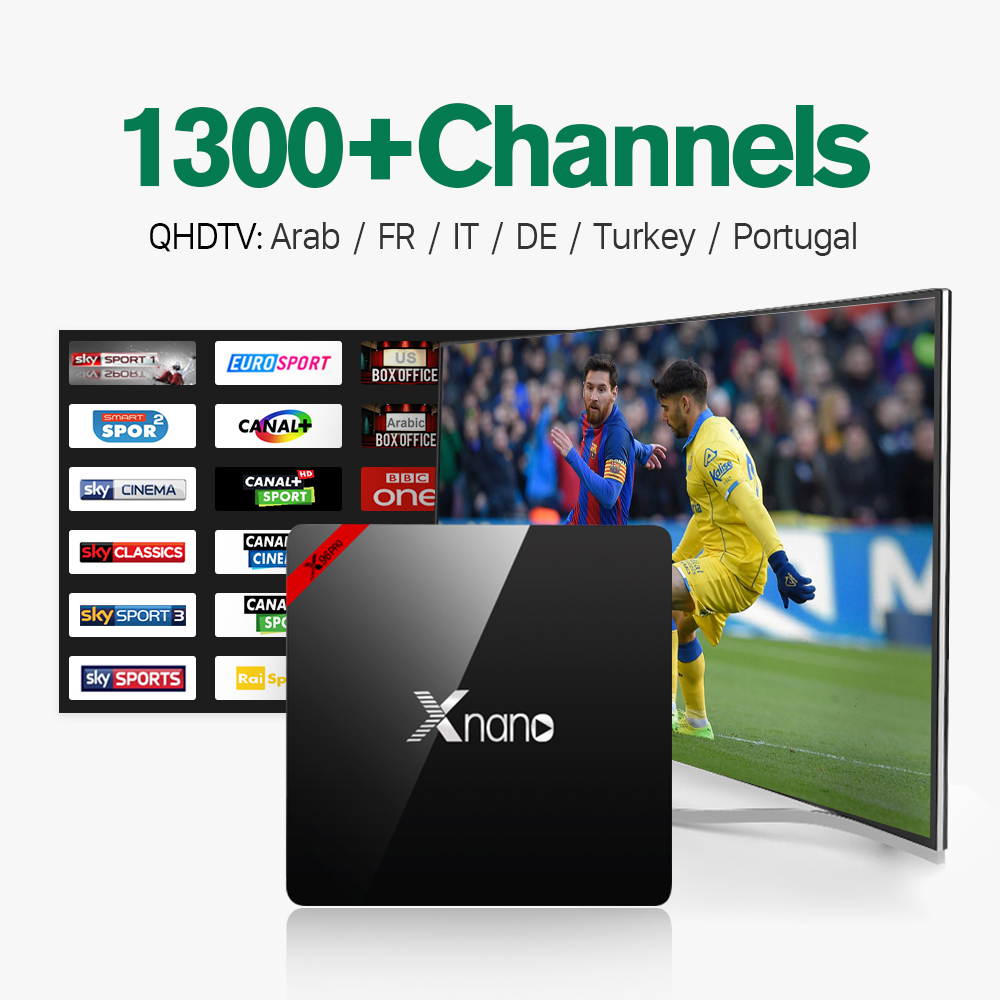 ФОТО New Smart Android 6.0 TV Box S905X Quad Core UHD 4K 1G/8G WiFi H.265 Media Player with Free 1300 IPTV Subscription Europe Arabic