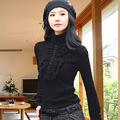 High collar shirt women fall and winter clothes Korean yards lace long-sleeved T-shirt fat mm long section Qiuyi