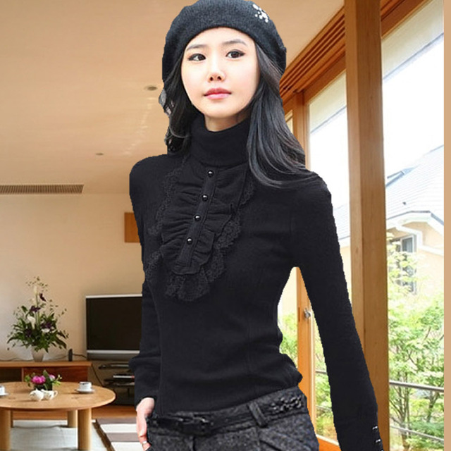 534f579a4c8 High collar shirt women fall and winter clothes Korean yards lace long- sleeved T-