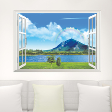 Rainbow Sea Mountain Wall Stickers Home Decorations Living Room 3d Window View Mural Scenery Decals