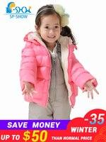 Winter Children's Clothing Girls set Children Warm Lining Super Luxury Fashion Brand Children Thick Warm Coat + Trousers