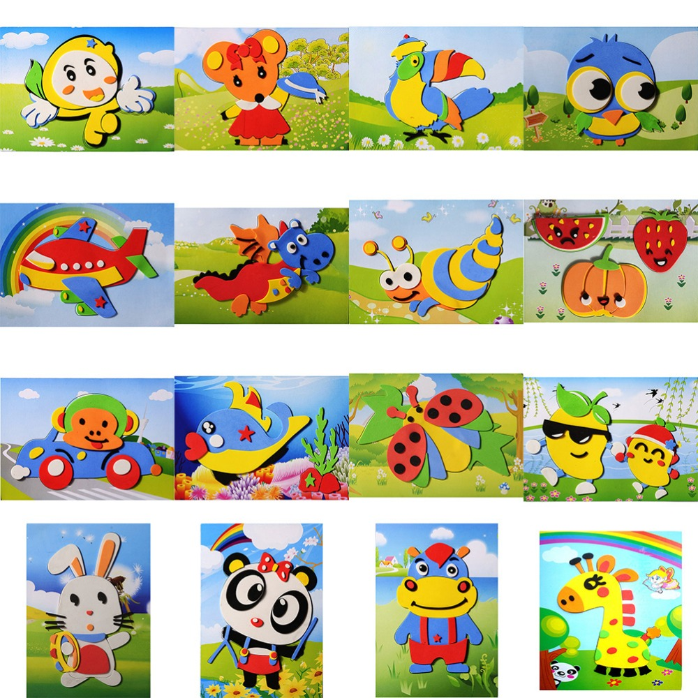 Multi-patterns Styles Random Cartoon Animal 3D EVA Foam Sticker Puzzle Toys Kids Girl DIY Learning & Education Toys