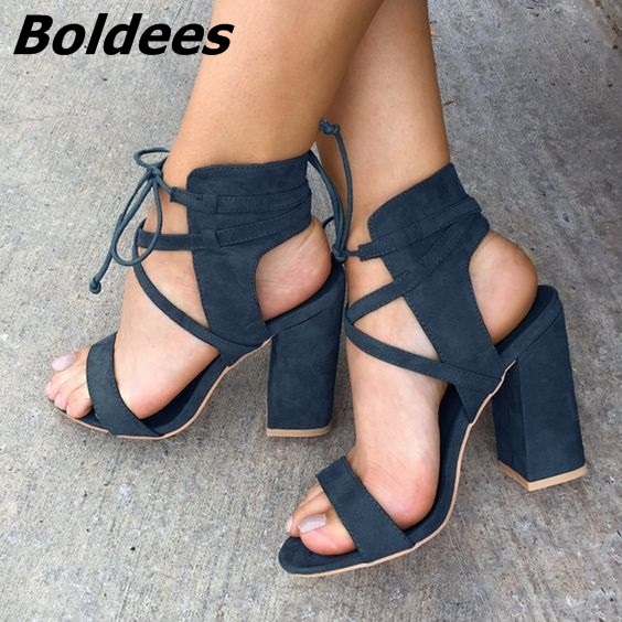 Classy Cut-out Strappy Open Toe Chunky Heeled Sandals Women Unique Designer Rope Style Lace Up High Heels Summer Sandals hot black satin straps women open toe sandals fashion cut out style butterfly knot back ladies lace up high heels slingback shoe