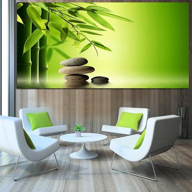 Impression Zen pierres bambou eau Feng Shui peinture à l\'huile ...
