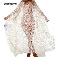 2016 Kobiety przezroczysta sukienka Hippie Boho Sexy Głębokie V Neck Lace Plaża Nosić długie sukienki Biały Maxi Dress Vestidos