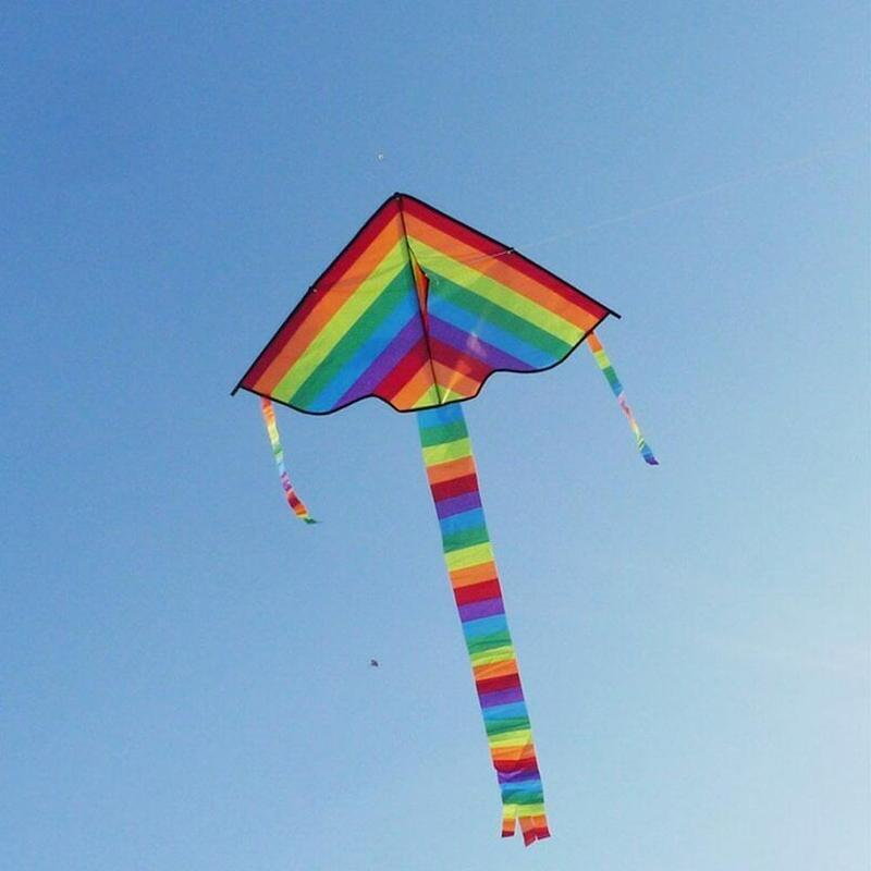 Colorful Rainbow Kite Long Tail Nylon Outdoor Kites Flying Toys For Children Kids Kite Surf With 30m Kite Line High Quality
