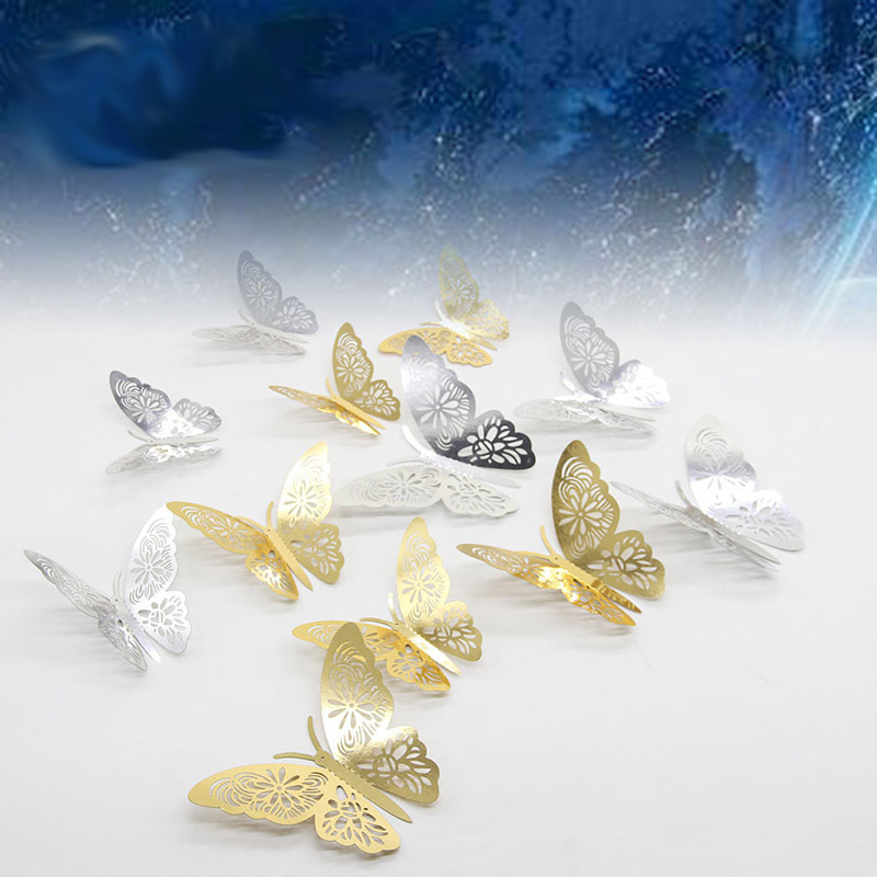 12pcs Gold/Silver 3D Hollow Butterfly Wall Sticker For Home Decoration Rooms Butterflies On Wall Wedding Decor Fridge Stickers