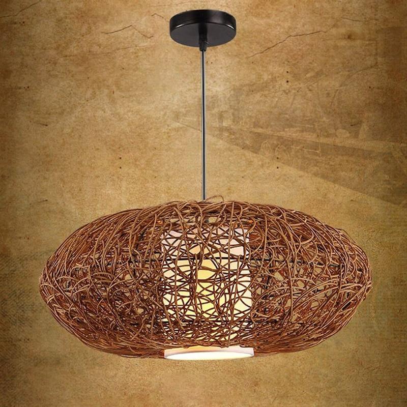 18 Handmade Rattan Pumpkin Shape Style Pendant Fixture