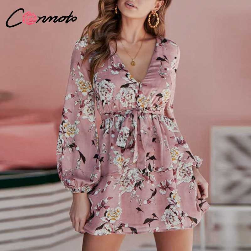 Conmoto Bogen Casual Winter Frauen Kleid Lange Laterne Hülse Party Kleider Feminino Floral Bohemian Kleid Vestidos