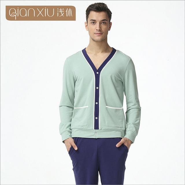 Qianxiu marca homens pijamas set moda primavera de algodão de mangas compridas pijamas pijamas salão casa pijamas roupa top & bottoms