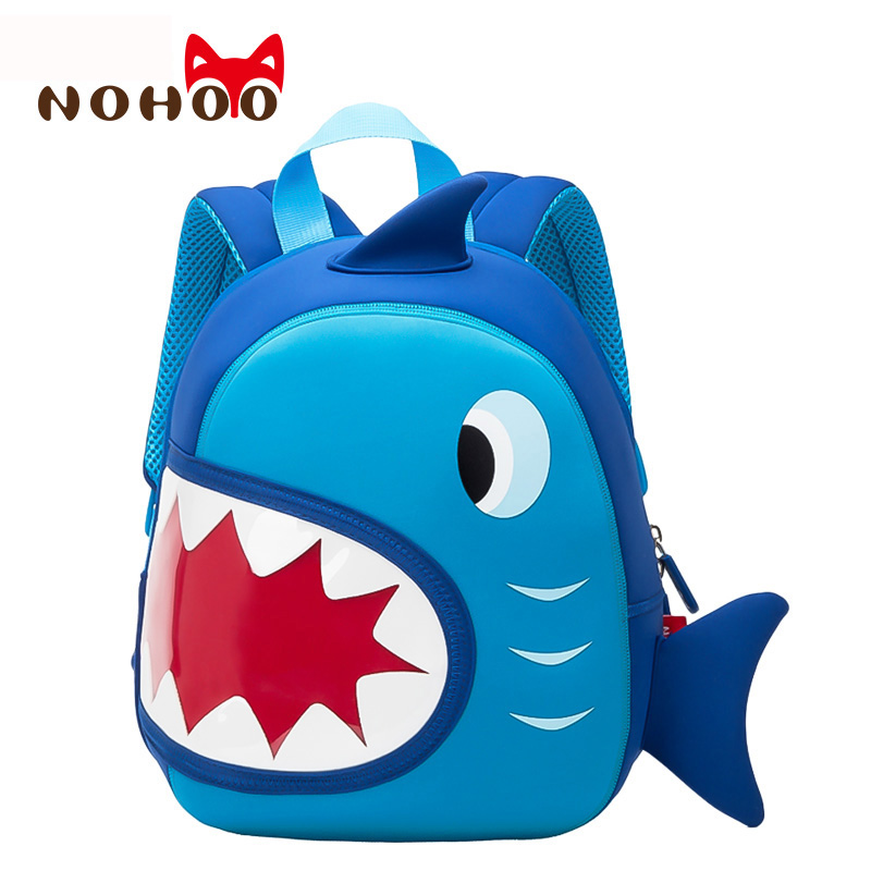 NOHOO Waterproof School Bags Blue 3D Shark Kids Backpack Cartoon Animal Children School Bags For Girls Boys Toddler Baby Bag nohoo waterproof cute cats animals baby backpack kids toddler school bags for girls children school bags kids kindergarten bag