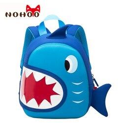 NOHOO bolsos escolares impermeables azul tiburón 3D mochila para niños animales de dibujos animados niños mochilas de escuela para niñas niños niño bebé bolsa