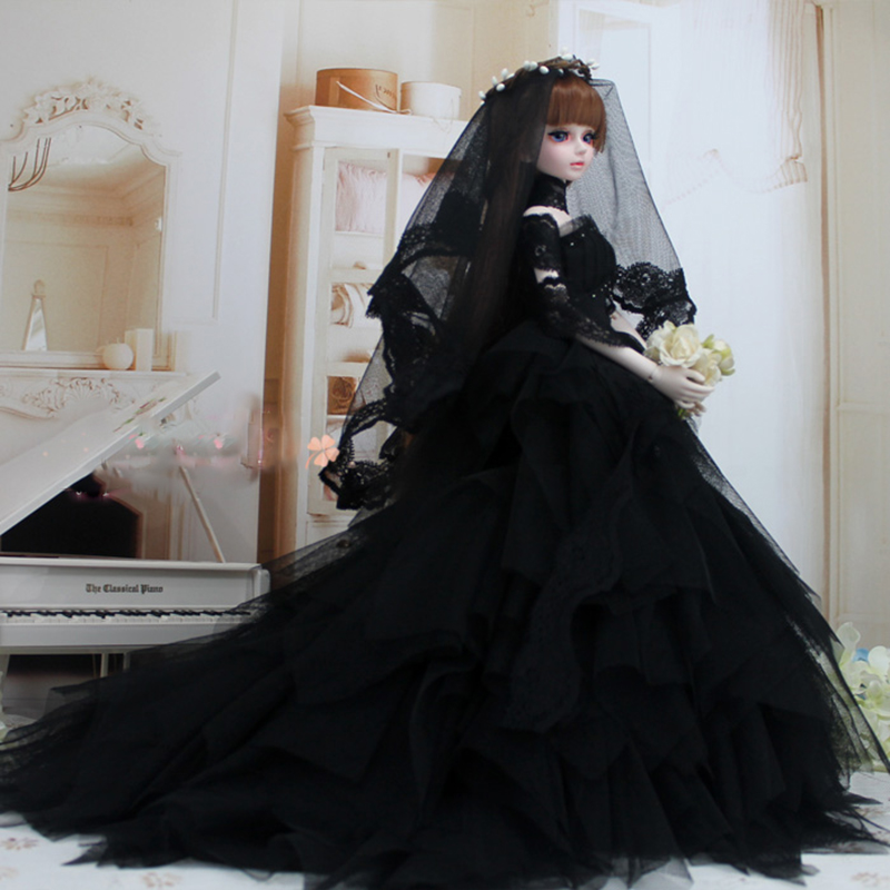 Bybrana Dress Wedding Evening Dress 1/3 1/4 BJD SD Doll Dress Black Wedding Dress