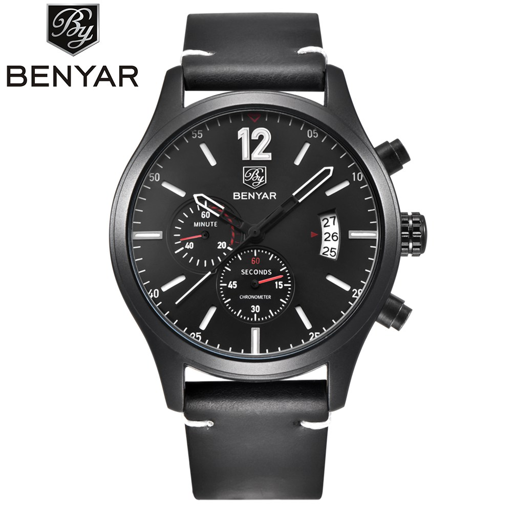 BENYAR Men Sport Watch Luxury Brand Waterproof Quartz Military Leather Wrist Watch Men Outdoor Chronograph Army Clock Male splendid brand new boys girls students time clock electronic digital lcd wrist sport watch