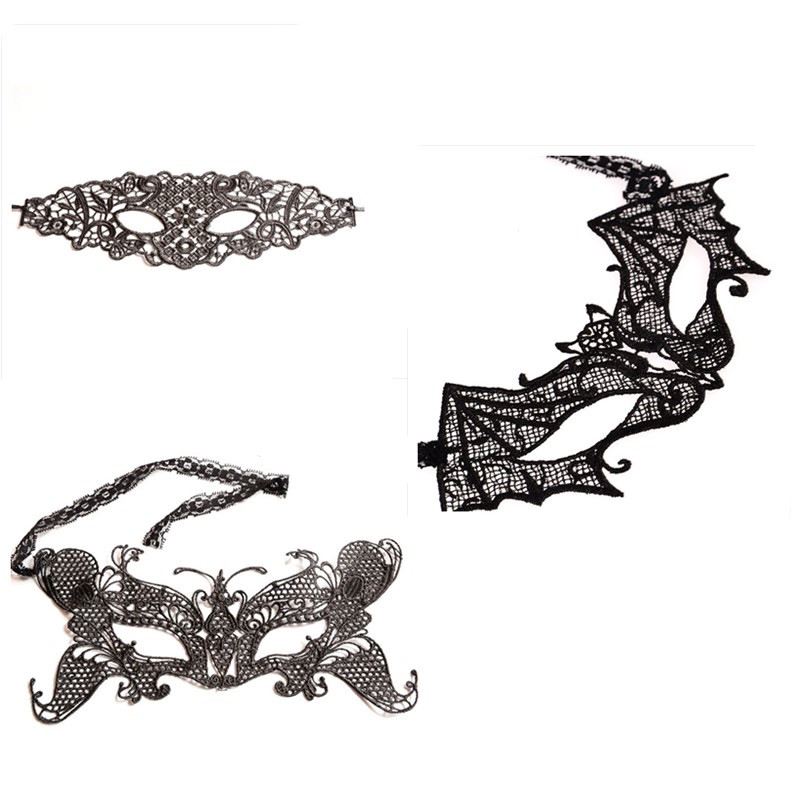 Hight Qulity Women <font><b>Sexy</b></font> Black Bat Butterfly Flower Lace <font><b>Masks</b></font> Ball <font><b>Halloween</b></font> Party Fancy Dress Costume image