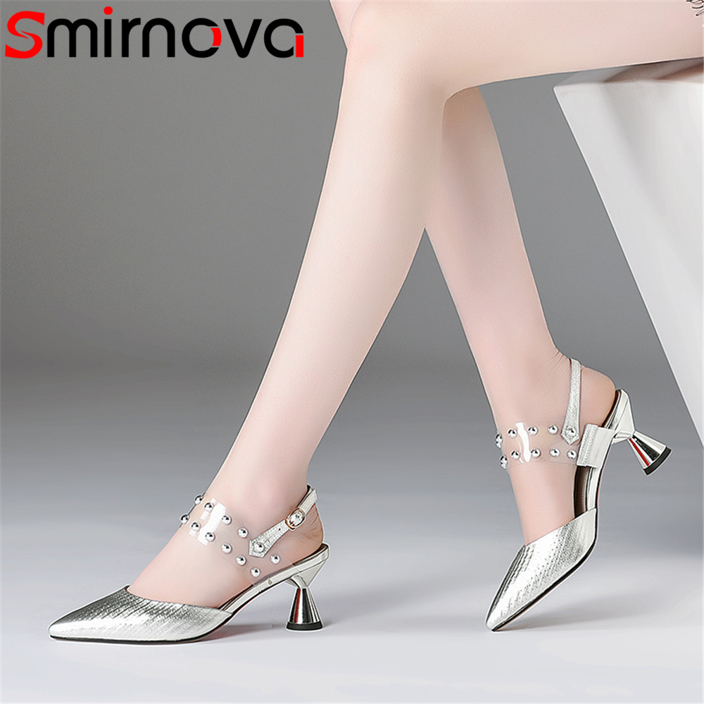 Smirnova 2020 fashion summer new shoes woman pointed toe buckle elegant wedding sandals women genuine leather shoes high heels-in High Heels from Shoes    1