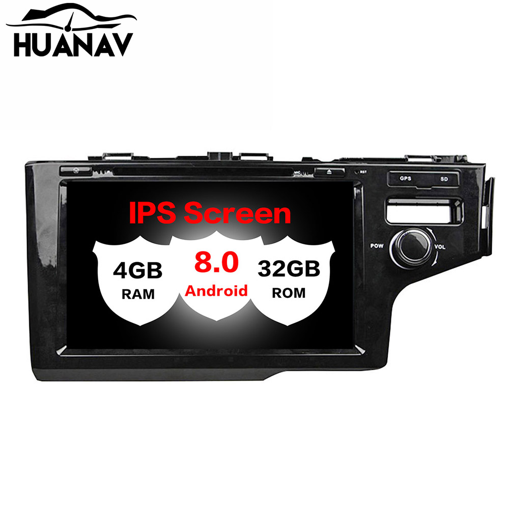 HUANVA Android 8.0 Car DVD Player GPS navigation For Honda Fit RHD 2014-2017 multimedia player tape recorder 8-Core navi Audio