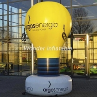 Ground giant inflatable light bulb balloon solar lamp with logo printed for event decoration