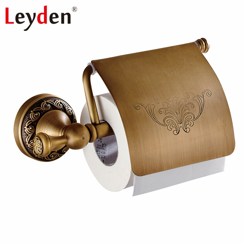 Leyden Antique Brass/ ORB Wall Mounted Toilet Roll Holder Copper Antique/ Black Toilet Paper Roll Holder Bathroom Accessories bathroom accessory antique brass wall mounted copper toilet paper roll holder free shipping aba037
