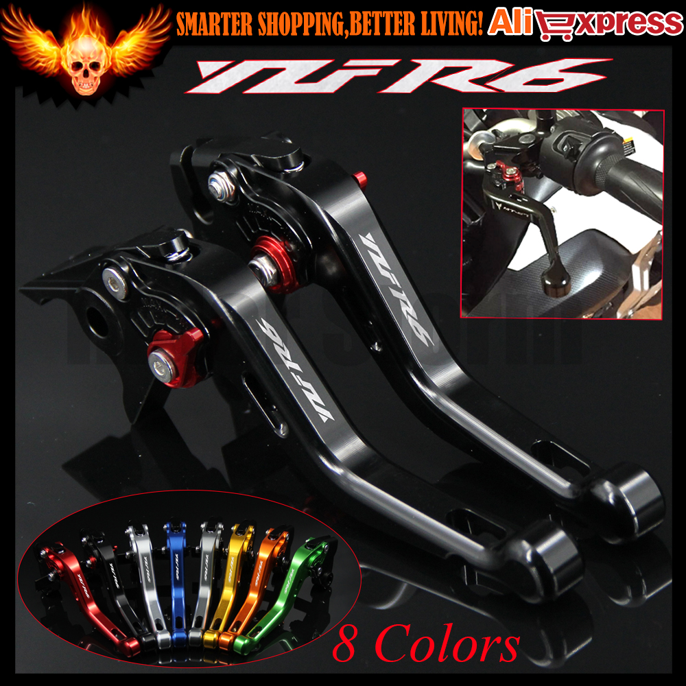 Laser Logo(YZF R6)8 Colors Black New CNC Motorcycle Short Brake Clutch Levers For Yamaha YZF R6 1999 2000 2001 2002 2003 2004 6 colors cnc adjustable motorcycle brake clutch levers for yamaha yzf r6 yzfr6 1999 2004 2005 2016 2017 logo yzf r6 lever