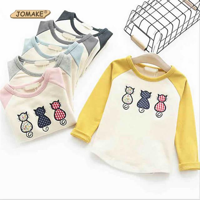 2017 Primavera Nuevo Estilo de Los Niños Camisetas Niños Gato de la Historieta Impresa Tops Para Niñas Y Niños camiseta con Manga Larga Ropa de Los Niños