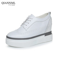 Qiannml Plus Size 34 43 Brogues Creepers Platform Shoes 2019 Leather Loafers Ladies Lace up Oxford Shoes for Women