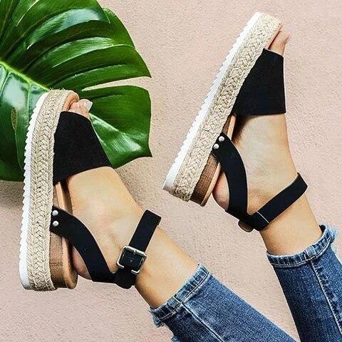 Leopard Sandals Espadrilles Platform Women's Shoes Thick-Bottom Summer Large-Size Alpargatas