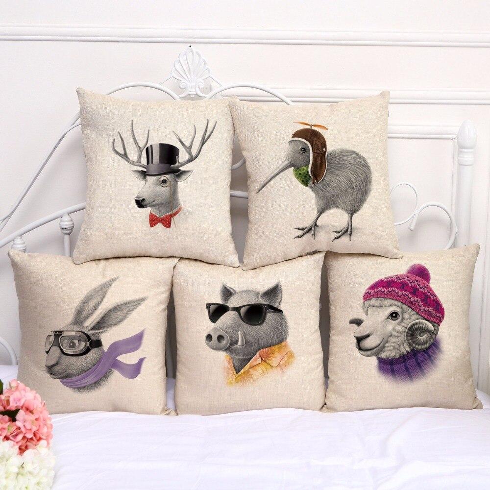 Cute Square Pillow Case Cotton Linen Cushion Cover Home Throw Sofa Waist Decor