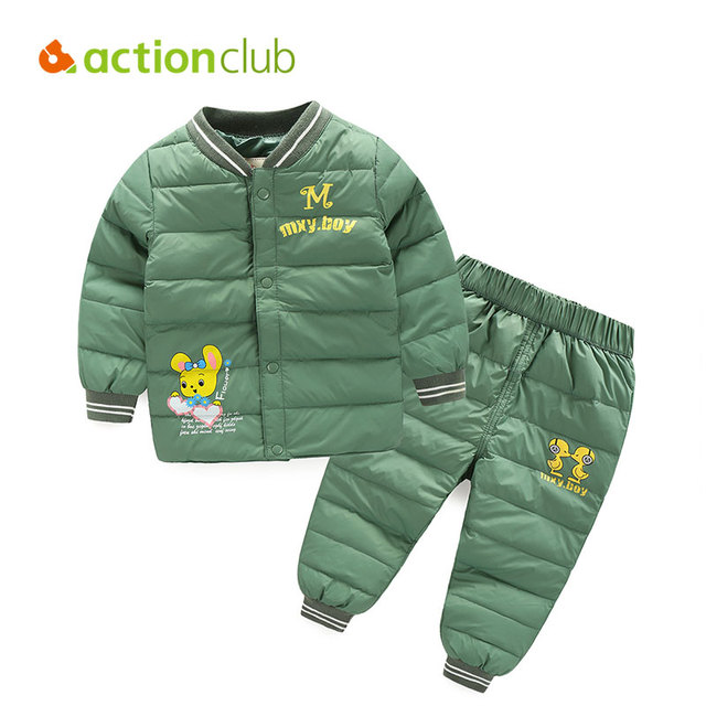 Actionclub Children Winter Clothing Set 2PCS Coat And Pants Boys Girls Winter Down Jacket Kids Casual Cartoon Outerwear Clothes