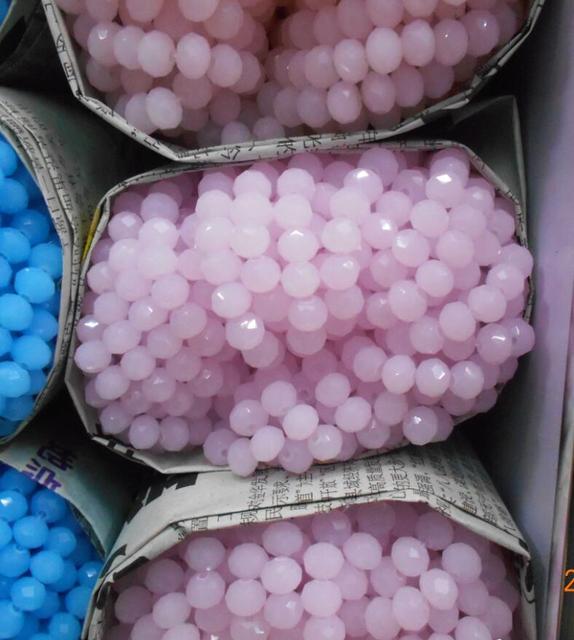 Couleur rose unie 4*6mm 50 pcs Rondelle autriche perles de verre cristal à facettes perles entretoises en vrac pour la fabrication de bijoux