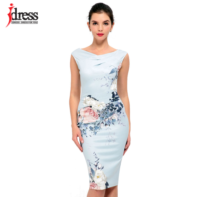IDress Women Elegant Work Wear Dress Summer Style Floral Print Midi Pencil Office Dress Sexy Knee Length Bodycon Bandage Dresses