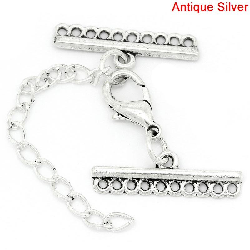 Doreenbeads  Fashion Components Zinc Alloy Connectors Jewelry Findings Irregular Antique Silver 3.2cm X 25mm 1 Set