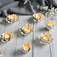 Ceramic Candlestick Decoration Lotus Lamp Crafts Table Creative Soft Decoration Home Decorations Display Gifts