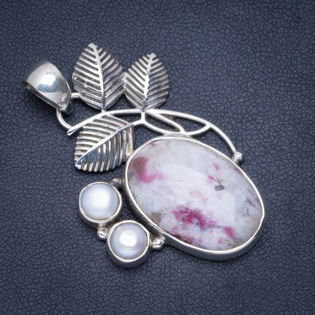 Natural Jasper and River Pearl Handmade Unique 925 Sterling Silver Pendant 1.75