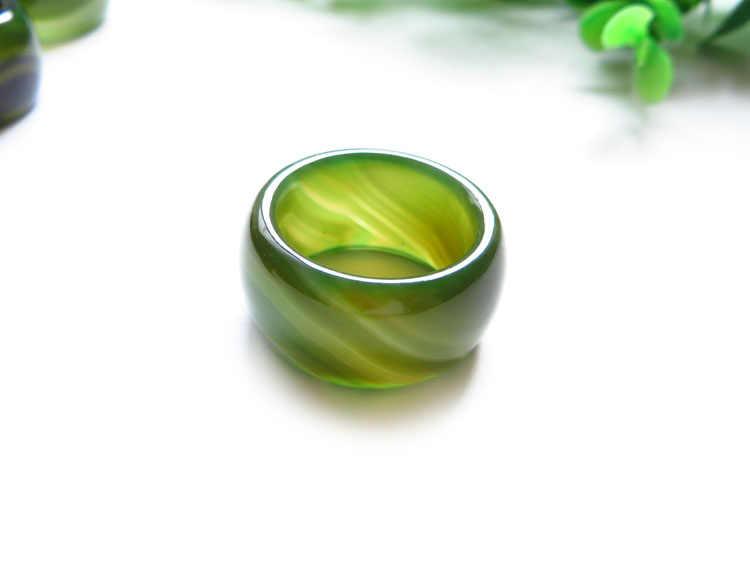 ธรรมชาติหยกแหวนบุคลิกภาพที่ไม่ซ้ำกัน Index finger สีเขียว chalcedony อาเกตผู้ชายลายนิ้วมือ ar05 #
