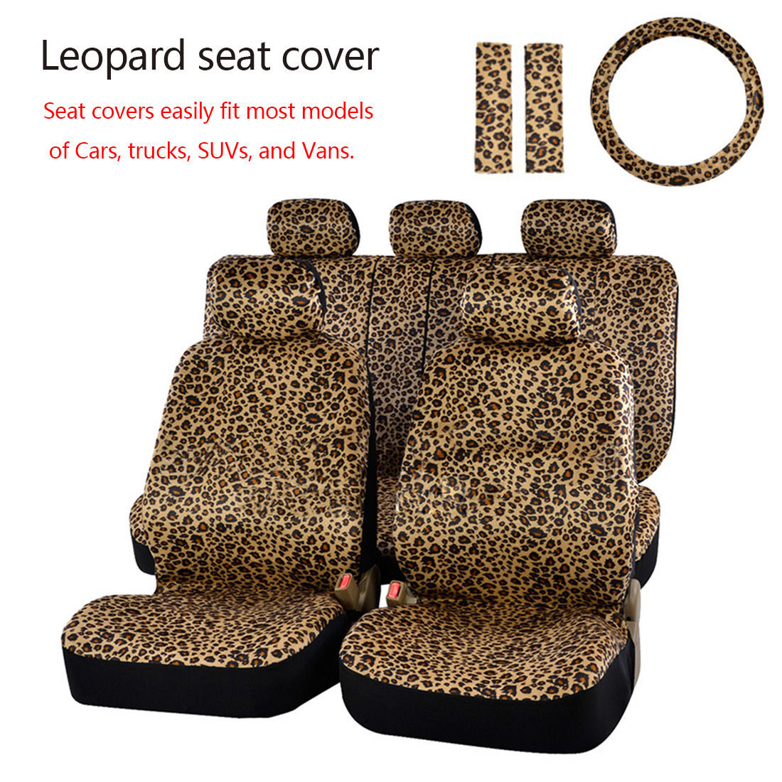 Dewtreetali Car Seat Cover Front Rear Car Seat Protector Universal Leopard Print Car Styling Interior Accessories for VW Ford